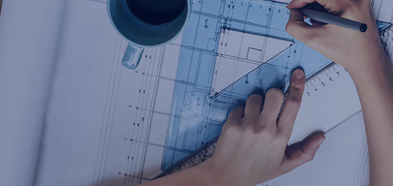 man drawing an architectural drawing and drinking coffee mobile banner