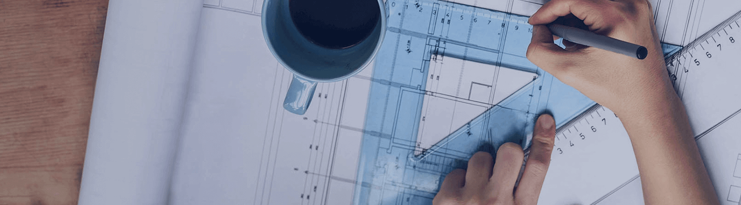 man drawing an architectural drawing and drinking coffee banner